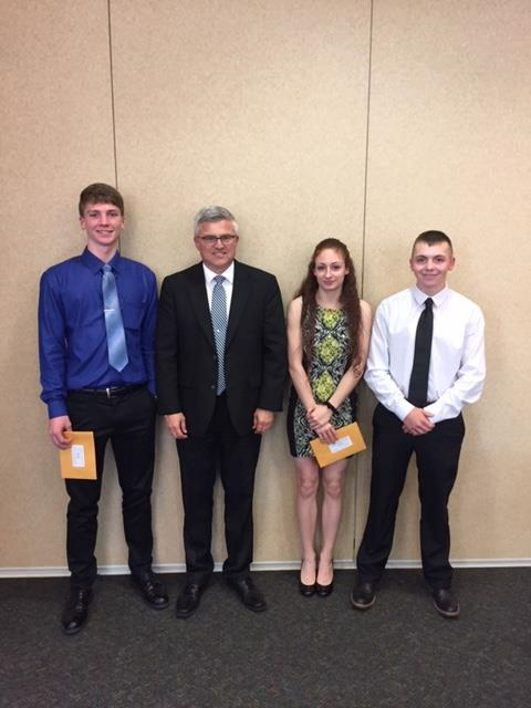 L to R Luke Brambley, Mr Bollman, Anessa Osler, Ben Zimmerman